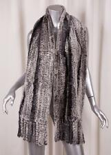 Genuine RABBIT FUR Classic GORGEOUS Gray Striped Knitted Knit Fringe Wrap Scarf