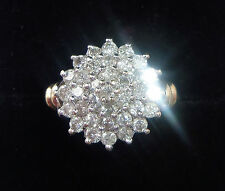 9ct Gold Tiered 1.00ct Diamond Cluster Ring, Size L
