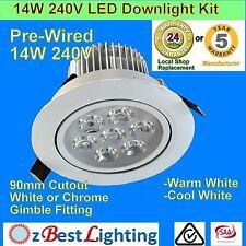 6 X 14W 240V 4000k  Daylight White LED Downlight Kits  with 240V Plug
