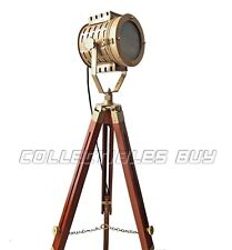 Antique Nautical Spotlight Wooden Tripod Floor Lamp Vintage Searchlight Lamps