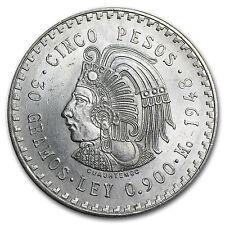 1947-1948 Mexico Silver 5 Pesos Cuauhtemoc XF-AU (ASW .8681 oz) - SKU #8558