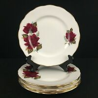 Set of 6 Dessert Bread Plates by Ridgway Pottery Royal Vale Red Roses England