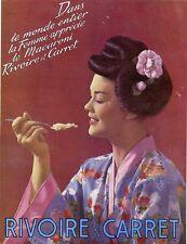 """""""RIVOIRE & CARRET"""" Annonce originale entoilée années 30 DRAEGER 30x38cm"""