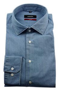Seidensticker Herren Langarm Hemd Modern blau Denim Kent Gr. 38 / 117060.12