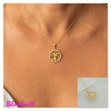 Gold Plated Tree Of Life Pendant Necklace 925 Sterling Silver Kabbalah Jewelry