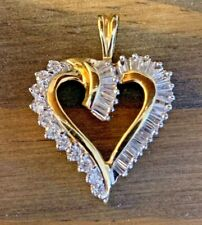 14K Yellow Gold 1cttw Round And Baguette Diamond Heart Pendant