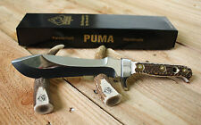 Puma White Hunter Stag Fixed Blade Knife 116375 with Leather Sheath Made in Germ