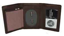 BADGE ID HOLDER ROUNDED OVAL SHAPE DARK BROWN TRIFOLD WALLET NEW LEATHER WALLET