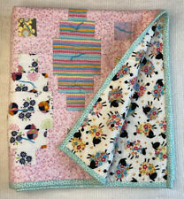 Handmade Baby Quilt Pink Stars Sheep Floral Blue 39�x 37� Girl Multicolored