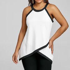 Fashion Womens Sexy Casual Plus Size Blouse Color Block Vest Patchwork Tank Tops