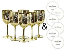 Moet & Chandon 6 Gold Ice Imperial Acrylic Champagne Glasses with Paper Coasters