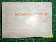 HONDA C50LA OWNERS MANUAL drivers handbook RIDERS USERS GUIDE Inc WIRING 1981