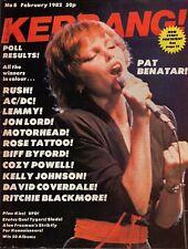 Pat Benatar on Magazine Cover 1982 Kerrang No: 8   AC/DC   Status Quo  Kiss  UFO