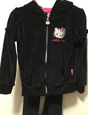 Girls Hello Kitty Black Sequin Track Suit Velour Hoody Set Size 4T