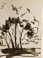 JOSE TRUJILLO Impressionism Black INK WASH on Paper Landscape Highly Collectible