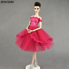 "Hot Pink Lace Doll Dress for 11.5"" Doll Clothes 1/6 Doll Outfits Clothing DIY"