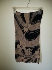 PAPAYA Womens Juniors Beige and Black Floral Skirt Size Large