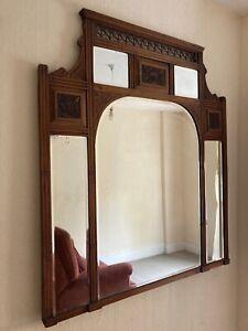 Victorian Wooden Overmantle Mirror