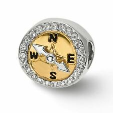 Reflection Beads Sterling Silver Gold Tone CZ Moveable Compass Bead MSRP$125