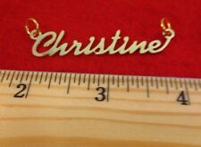 """14KT GOLD EP """"CHRISTINE"""" PERSONALIZED NAME PLATE WORD CHARM PENDANT 6084"""