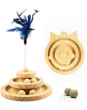 New listing Cat Toy Moving Ball Tower Wooden Circle Track Spring Feather Bell & Catnip Balls