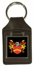 Duffus Family Crest Surname Coat Of Arms Brown Leather Keyring Engraved