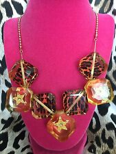Betsey Johnson Vintage Lucite Leopard Block Crystal Star Yellow Square Necklace