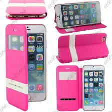 "Accessoire Housse Coque Etui S-View Flip Cover Rose Apple iPhone 6 4,7"""