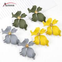 Elegant Women Acrylic Flower Statement Ear Stud Earrings Drop Dangle Jewelry