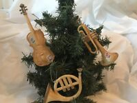 Vintage Plastic Christmas Ornaments Hard Plastic Musical Instruments c. 1970s