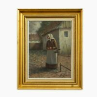 Danish Painter. Arling Gade. Woman in rural environment. Oil on canvas