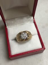 MEN'S 14K YELLOW GOLD DIAMOND CLUSTER  RING
