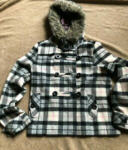 Victoria Secret Pink Plaid Wool Jacket Coat M Removable Removable Fur Trim Hood