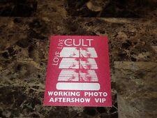 The Cult Rare Love Live 2009 Tour Vip Cloth Pass Sticker Ian Astbury Billy Duffy