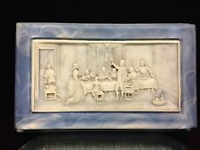 Lg Light Blue Incolay Stone Jewelry Box HAND CRAFTED Carved Victorian Scene