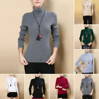 Hot Women Cashmere Sweater Autumn Winter Knitted Turtleneck Pullover Warm Blouse