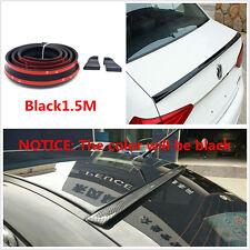 Black 1.5M Car Rear Roof Trunk Spoiler Wing Lip Trim Sticker Body Kit Flexible