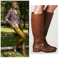 Tory Burch Sofia Emblem Knee High Ridig Boots Camel Brown Leather US 7