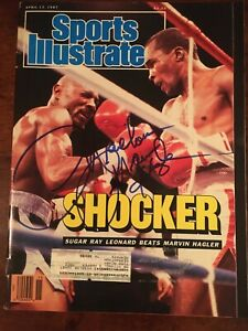 Marvelous Marvin Hagler hand signed IP 4/13/87 Sports Illustrated magazine HOF
