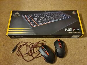 Corsair K55 RGB Mouse Gaming Keyboard - Black Wired Mouse Silent Wirless mouse