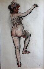 Paul MADELINE 1863-1920 Femme nue grand dessin étude pastel