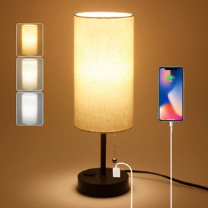 USB Bedside Table Lamp, 2700K 4000k 5000K Nightstand Lamp with Pull Chain, Bedsi