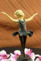 Signed Preiss Young Girl Ballerina GreenBronze Sculpture Hot Cast Figure