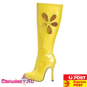 Womens Yellow Gogo 60s 70s Go Go Boots Knee High Boots Hippie Hippy 1960s 1970s