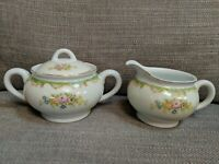Porcelain Lidded Sugar Bowl And Creamer, Multicolored Floral - Made In Japan