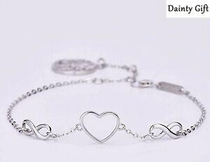 "Women Girl 925 Sterling Silver Heart Infinity Life of Tree Anklet Bracelet 7-9"""