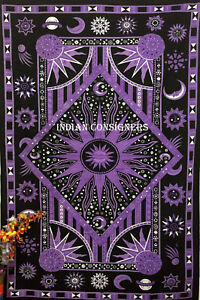 Beautiful Purple Color Sun Moon Star Design Picture 100% Cotton Twin Tapestry