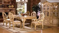 Dining Table Set Antique White Finish French Style Legs Solid Wood