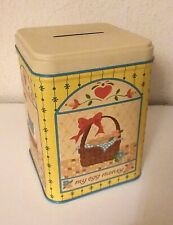 Vintage 1970s Royalty Products Yellow Tin Bank