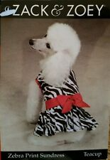 "NWT Zack & Zoey ZEBRA PRINT SUNDRESS W/RED SATIN BOW TEACUP 6"" LONG UNDER 5 LBS."